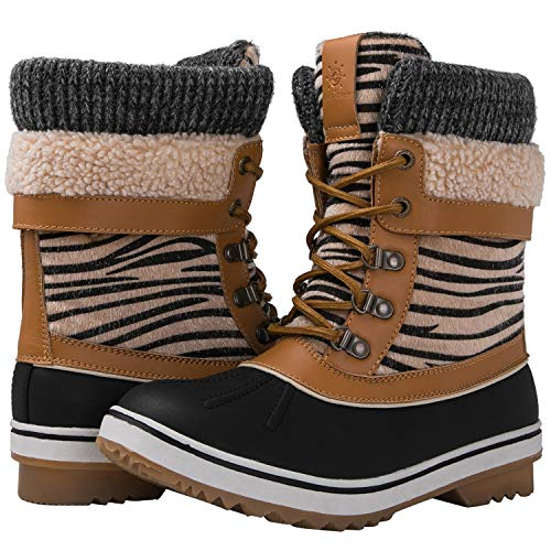 (GLOBALWIN Women's Camel Zebra Stripe Winter Snow Boots 6.5M US)