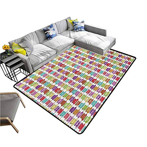 (Bathroom Carpet Tea Party,Multicolored Teacup Design in Various Forms Squared Polka Dotted Striped Styles,Multicolor 48