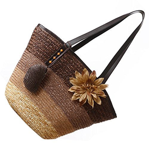 big bags£¨Brown£© bags women's beach bag Summer stripes bag color fashion Straw tote handbags Bohemian shoulder R Knitted flower SODIAL UqO4wHxa4