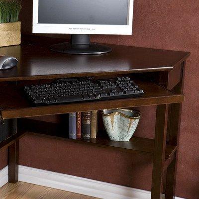 Karbach Corner Desk with Keyboard Tray - Espresso