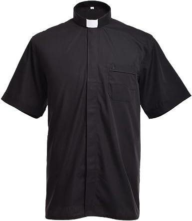 BLESSUME Iglesia Clero Camisa con Collar Lengüeta Negro Unisexo: Amazon.es: Ropa y accesorios