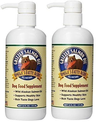 Grizzly Salmon Oil All-Natural Dog Food Supplement in Pump-Bottle Dispenser 16 ounces (2 pack) by Grizzly