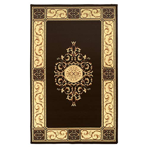 Superior Elegant Medallion Collection 8' x 10' Area Rug, Attractive Rug with Jute Backing, Durable and Beautiful Woven Structure, Floral Medallion Rug with Broad Border - Coffee (Symphony Rug Collection)