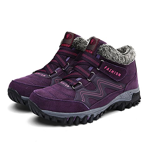 Gr Trekking Winterschuhe Damen Herren Winter 36 Outdoor ZOEASHLEY Schuhe Klettverschluss Violett Warm Boots mit Gefüttert 45 Stiefel UARpTnO