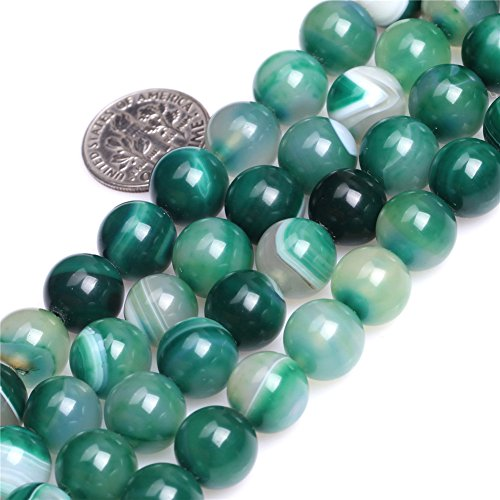 SHG 10mm Round Banded Green Agate Stone Beads Gemstone For Jewerly Making Beads 1 Strand per Bag 15.5 inch