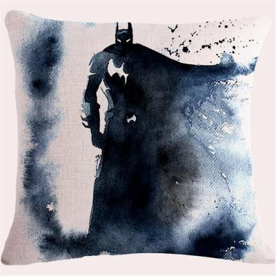 Black Grey Batman Throw Pillow Case, White Justice League Cushion Cover Superhero Dark Knight Bruce Wayne Watercolor Woven Gray TV Show Movie Animated Comic Book Character, Cotton