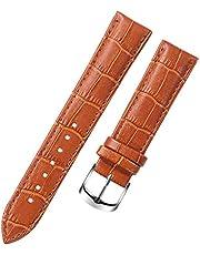 SHILIU 8 10 12 14 15 16 17 18 19 20 Millimetri Genuine Leather Cinturino della Cinghia della vigilanza Cinturino da Polso Banda Femminile Rosso Bianco Nero (Band Color : Brown, Band Width : 17mm)