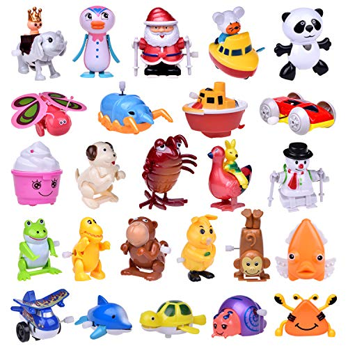 Wind up Toys 25 pcs Assorted Toy Animal for Children's Party Gifts Kids Birthdays (More than 2 Dozen)]()