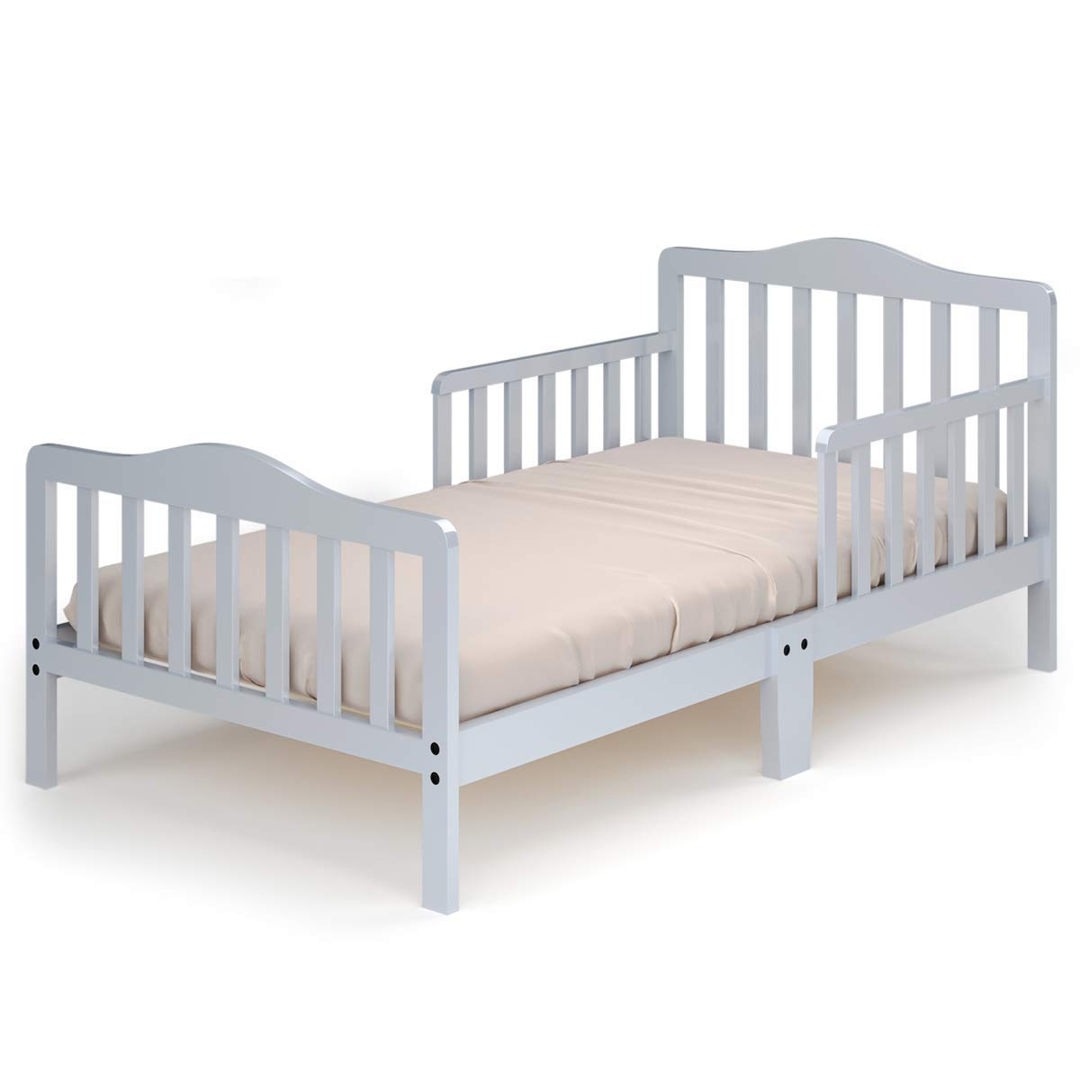 Costzon Toddler Bed, Classic Design Wood Bed Frame w/Two Side Safety Guardrails & Wooden Slat Support for Kids Boys & Girls, Children Sleeping Bedroom Furniture (Gray)
