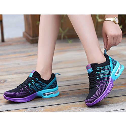 anbiwangluo Women Shoes Breathable Lightweight Air Cushion Athletic Sneakers Black 8l8Bn0c11