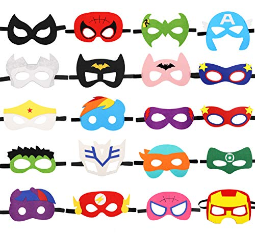 HAMMERHIT Superhero Felt Masks 20 pcs Cosplay Character Soft Mask Party Favor Supplies for Kids Boys or Girls]()