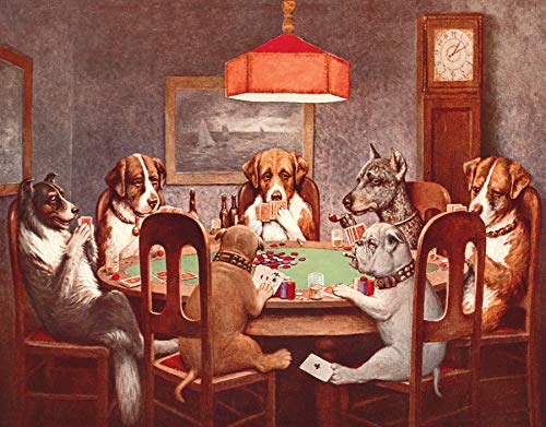 (Desperate Enterprises Seven Dogs Playing Poker Tin Sign, 16