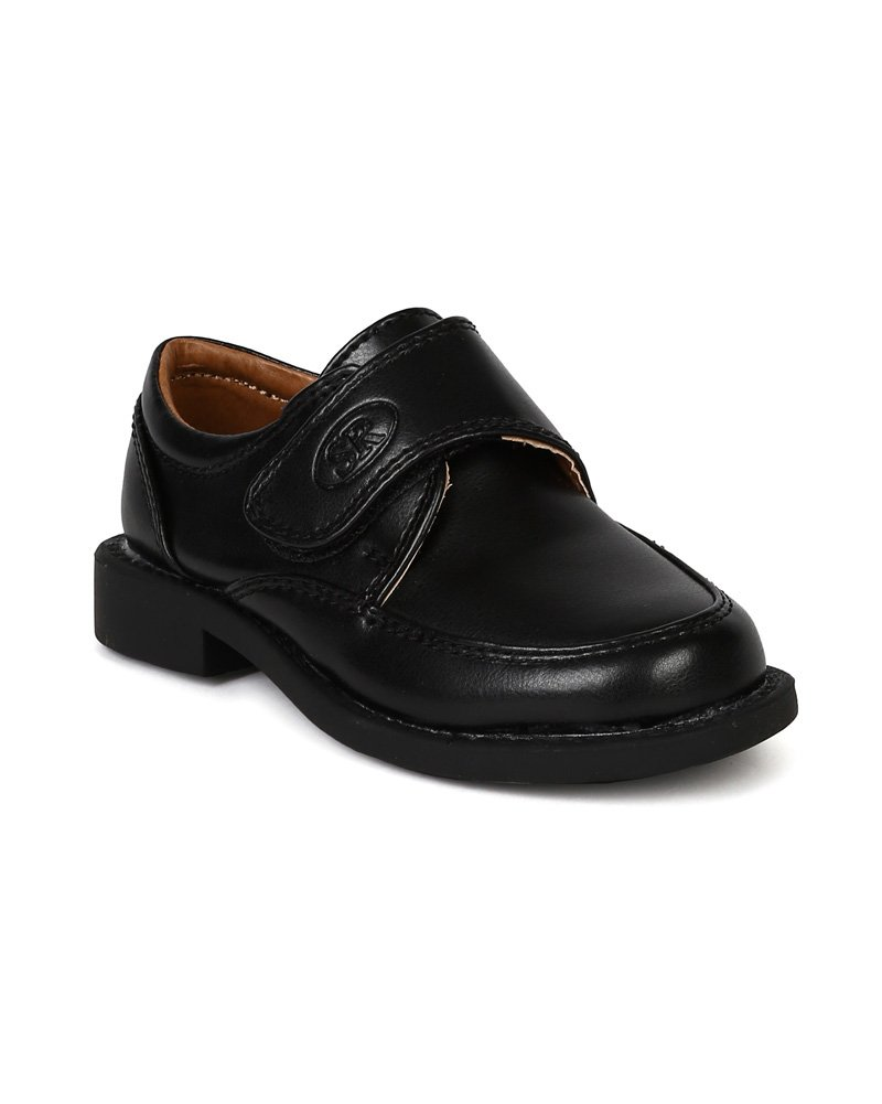 Kids Leatherette Buckle Strap Dress School Shoe (Little Boys/Big Boys) BC71 - Black (Size: Little Kid 13)