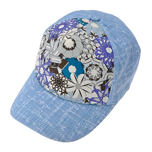 (ZLYC Women's Tow-Tone Floral Texture Pattern Baseball Adjustable Hat Cap, Blue)