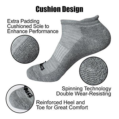 Literra Men/'S 6 Pack Running No Show Socks Low Cut Performance Athletic Cushion