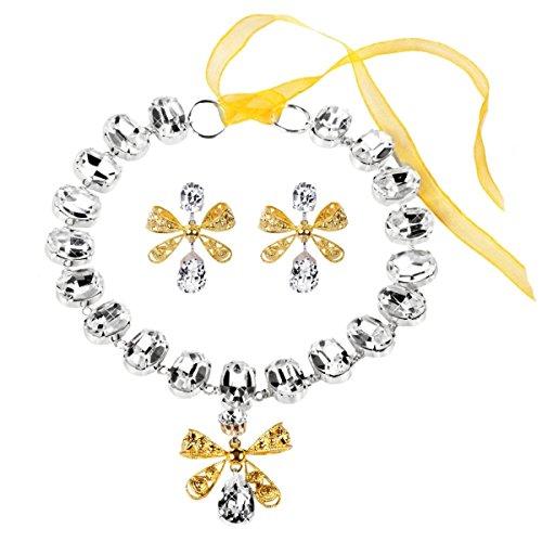 Parure femme collier boucles d'Oreilles strass Rococo Mme. de Pompadour Glamour doré rhodié noeud de tissue