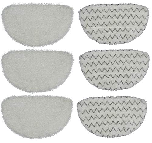 Flintar Replacement Microfiber Refill Pads Compatible with Bissell PowerFresh 1940, 19404 Pet, 2075A & 2181 Slim, 1806 Deluxe, 1440, 1544 Pet Lift-Off Steam Mop (6-Pack (3 Soft + 3 Scrubby))