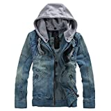 Men's Denim Hooded Jacket Button Down Classy Hoodies Casual Jeans Coats Outwear Detachable Hood,Large,Blue