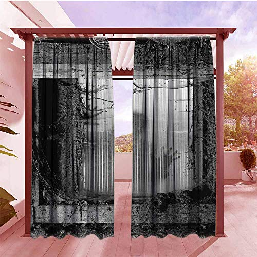 Outdoor Patio Curtains Horror House Decor Zombie Outside from Spiderweb Dirty Glass Striking Nightmare Killer Terror Set of 2 Panels W84x72L Gray