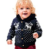 Fheaven (TM) Baby Boys Girls Clothes Christmas Deer Sweater Hooded Knitted Tops Button Warm Coat Outwear (12-18 Months, Dark Blue)