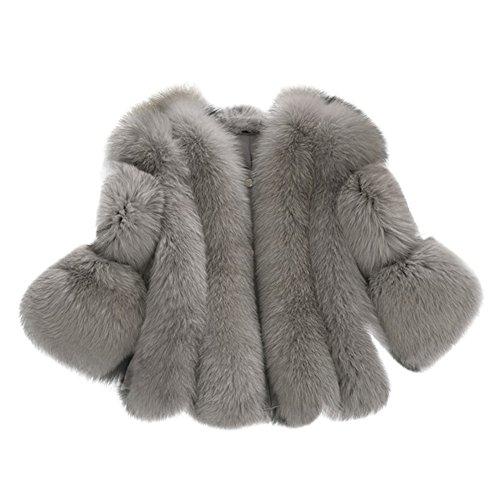 Per Women's 3/4 Sleeve Faux Fur Coat Imitation Fox Fur Warm Jacket For - 3/4 Fur Fox Jacket