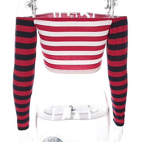 Marianne Femmes Sexy à Manches Longues hors Épaule t-Shirt à Manches Courtes Rayé Imprimé Vogue Crop Top Tee-Shirt