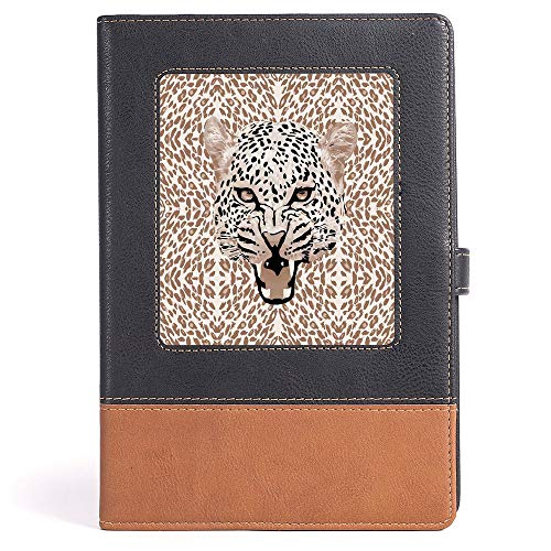 - Casebound Hardcover Notebooks - Modern - Roaring Leopard Portrait with Rosettes Wild African Animal Big Cat Graphic - 100 Ruled Sheets - A5/6.04x8.58 in