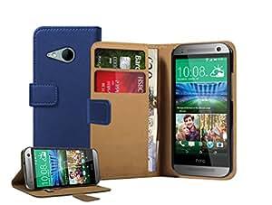 Membrane - Azul Cartera Funda Carcasa para HTC One 2 Mini - Wallet Flip Case Cover