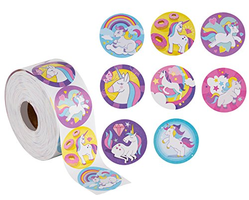 (Unicorn Stickers – 1000-Count Unicorn Decal Stickers, 8 Cute Designs, Unicorn Party Supplies, 1.5 inch Diameter Round)