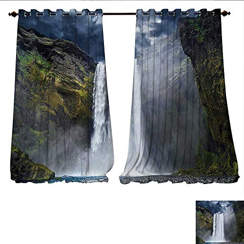 Patterned Drape for Glass Door Waterfall and Grand Cliffs in Northern America Force of Nature Art Print Waterproof Window Curtain W84 x L108 Green Blue White (Clear Waterfall Grande Glass)