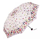 Folding Travel Sun Lightweight Umbrella Lady's Parasol Sunblock UV Protection UPF 50+ Compact Size with Black Underside Keep Cooler in Hot Summer! (Yellow/Pink)