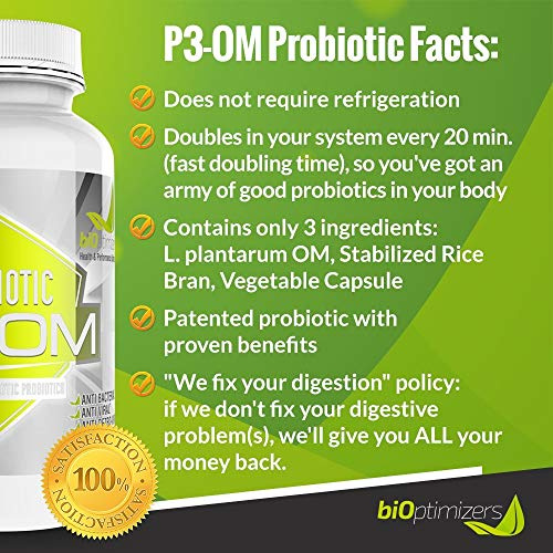 P3-OM - Best Probiotics for Women and Men - Dr. Formulated - No Refrigeration Needed - Patented Single Strain - Boosts Immunity - Supports Digestive Health (120) by BiOptimizers (Image #1)