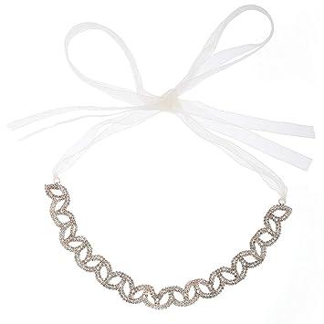 Amazon.com   Rose Gold Rhinestone Crystal Wedding Bridal Headband Hair Vine  with Ivory Organza Belt   Beauty 822a54b036a