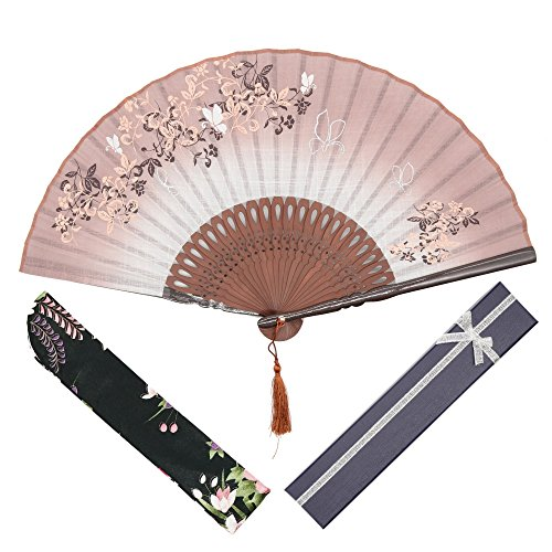 "OMyTea® ""Morning Glory"" Women Hand Held Silk Folding Fans with Bamboo Frame - With a Fabric Sleeve for Protection for Gifts - Chinese / Japanese Vintage Retro Style (Brown with Gift Box)"