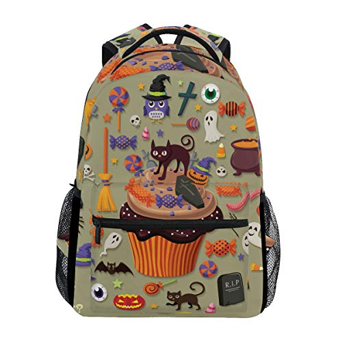AHOMY Girls School Backpack Halloween Skull Head Pumpkin Jack-O'-Lantern College Book Bag Lady Travel Rucksack -