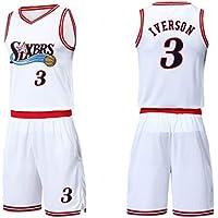 YANZZ NBA Philadelphia 76ers Allen Iverson# 3 Jersey de Baloncesto para Hombre,Camisa sin Mangas Swingman de Nueva Jersey