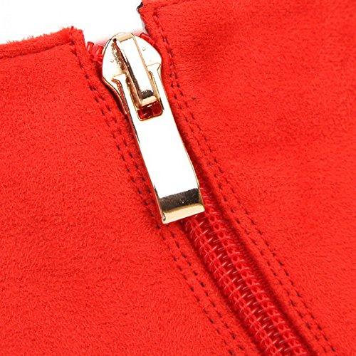 Tacchi Scamosciata Zipper Pelle Punta Alti Allhqfashion Donna Imitato top Low Stivali Chiusa Rosso gioielli 1tqYFxw0p