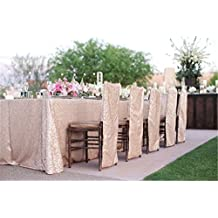Father's Day Gift TRLYC 60x102-Inch Rectangular Sequin Tablecloth Champagne for Wedding/Party/Event