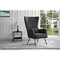 Mid-Century Modern Linen Fabric Accent Armchair with Shelter Style Living Room Chair (Ash Grey)