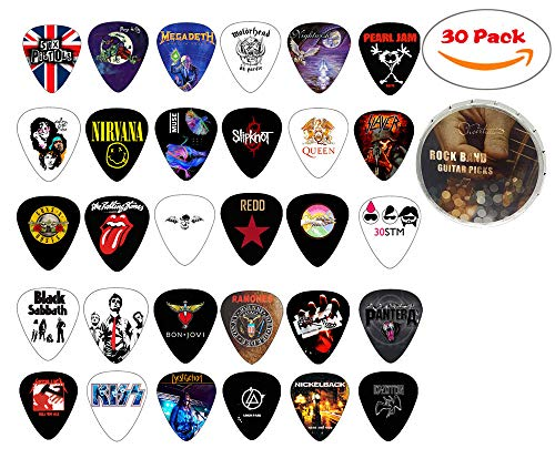 Cheerhas 30pcs Medium Guitar Picks Different Famous Rock Band Collection Double Side Color Printing Best Celluloid Guitar Picks For Musice Gift Music Lover 0.71mm (0.71mm+30PCS, Mixed Color)