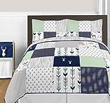 Sweet Jojo Designs 3-Piece Navy Blue, Mint and Grey Woodsy Deer Girls Full / Queen Bedding Set