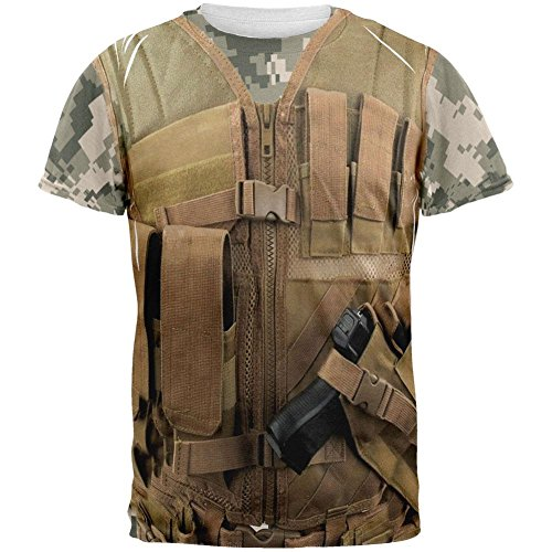 Old Glory Halloween Desert Tactical Military Vest Costume All Over Adult T-Shirt - -