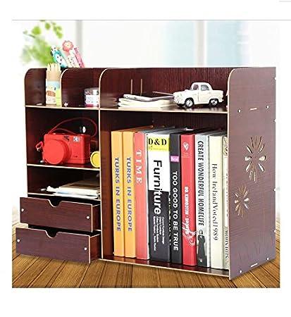 Ordinaire Wood Board File Sorter Desktop Organizer Rack Shelf Cubbies Office Supplies  Holder Makeup Organizer (Brown
