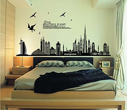StillCool Still Black City Silhouette Cityscape Skyscraper Wall Decals, Living Room Bedroom Removable Wall Stickers Murals (6090cm Black City Silhouette) (Wall Decals Dorm Room)