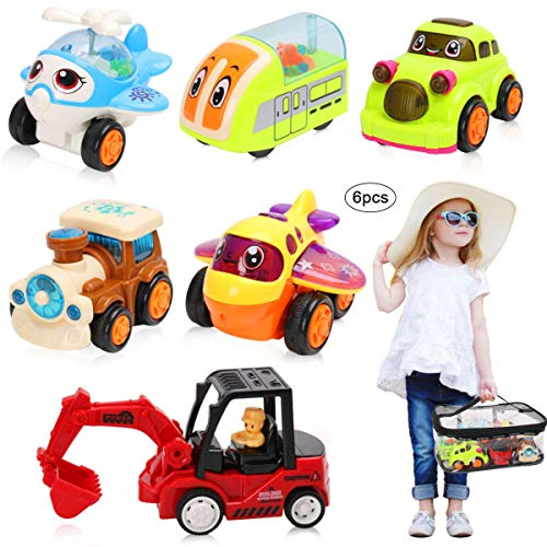 BBLIKE Cars Toys for 1 2 3 Year Old Kids, Toddler Push and Pull Cars Set of 6,Classic Construction Team Vehicles Set with a Storage bag, Vehicle toys for Boys & Girls (Train, plane, helicopter, car, b