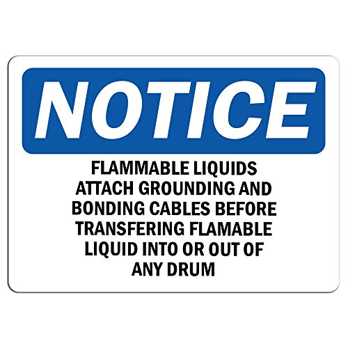 Grounding Flammable Liquids - Notice - Flammable Liquids Attach Grounding and Bonding Sign   Label Decal Sticker Retail Store Sign Sticks to Any Surface 8