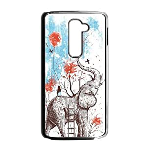 Cute Elephant Cartoon Black LG G2 case