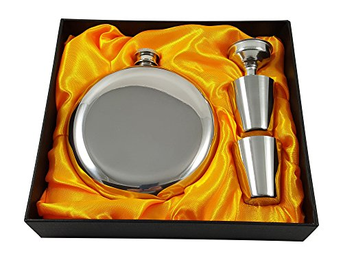10 oz Round Flask Gift Set with Two Shot Glasses and Funnel in a Black Gift Box (10 oz)
