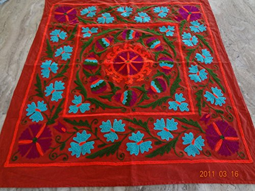 Handicraftofpinkcity Suzani Embroidered Tapestry Suzani Embroidered Wall Hanging Suzani Embroidered Table Runner 44x44'' Tapestry