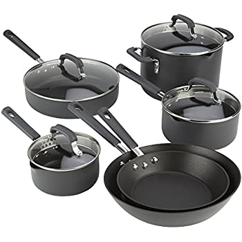 Emeril Lagasse 63046 Hard Anodized Dishwasher Safe Nonstick 10 Piece Pots and Pans Cookware Set, Gray